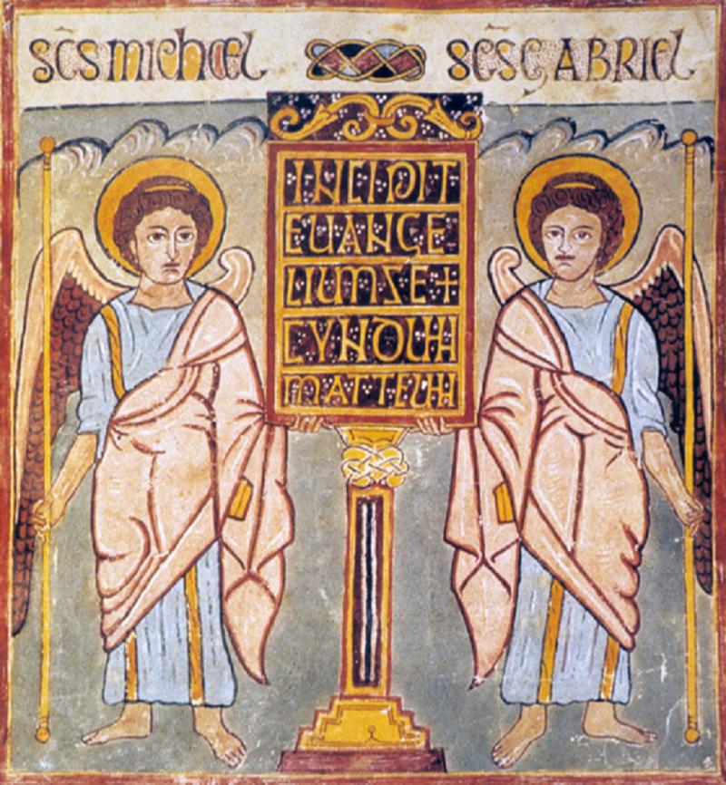 B1 Evangéliaire_de_Trèves_fol10r_-_incipit_avec_deux_anges, Anglo-Saxon Era