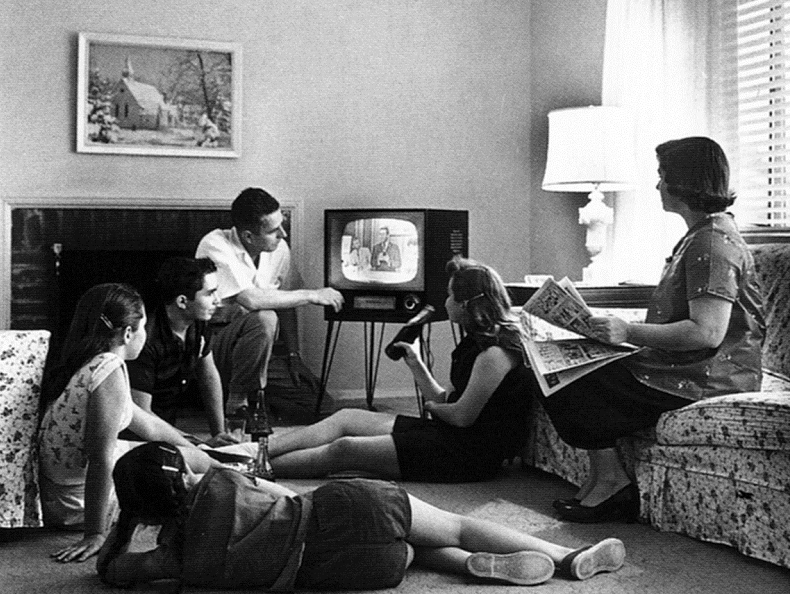 D Family_watching_television_1958, Drama: Stage and Screen